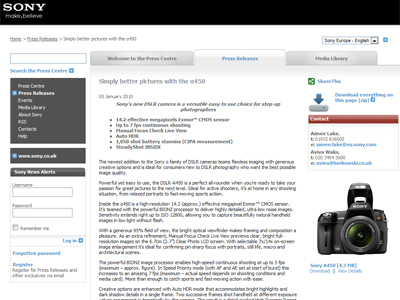 "Sony Europeで、デジタル一眼レフカメラ""α450""発表。"