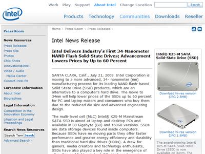 Intelから34nmプロセスとなった新しいSSD「X25-M、X18-M」発表!