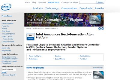 IntelがGPUとメモリ機能を統合した新Atom&チップセットを発表!