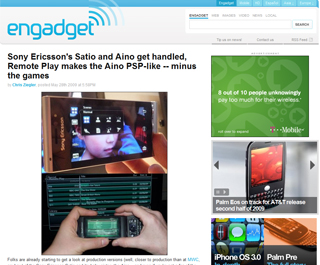Sony Ericsson、PS3連携「Aino」やゲーム携帯「Yari」を発表!